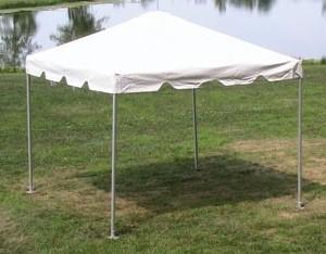 white frame tent