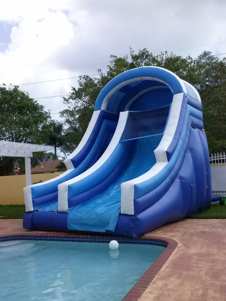 big blue water slide with no pool - Inflatable Pool Slide