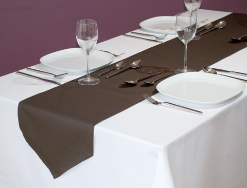 Black chair covers with purple sash - Table Overlays And Runners