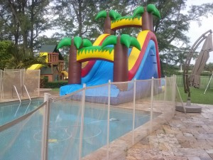 summer water slide rentals into pool