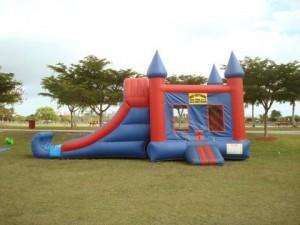 combo bounce house with basketball hoop