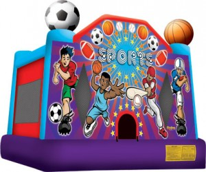 sports themed full face bounce house