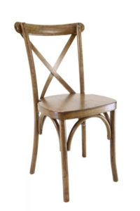 walnut cross back chair rentals in miami