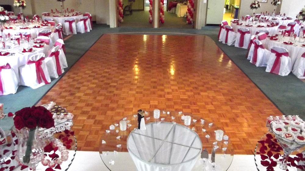 Vinyl pool cover dance floor rentals