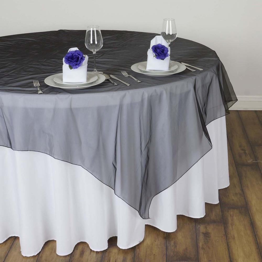 black organza overlay table rentals