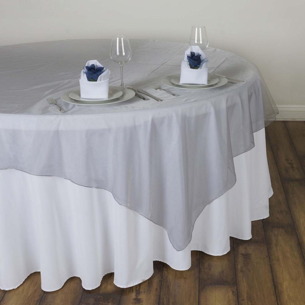 silver organza tablecloth overlay rentals