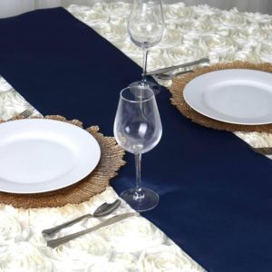 navy blue table runner rentals