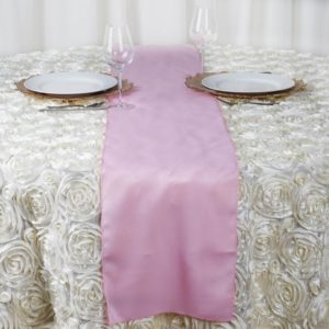pink table runner rentals
