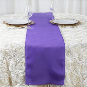 purple table runner rentals in miami
