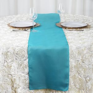 aqua blue table runner rentals in miami