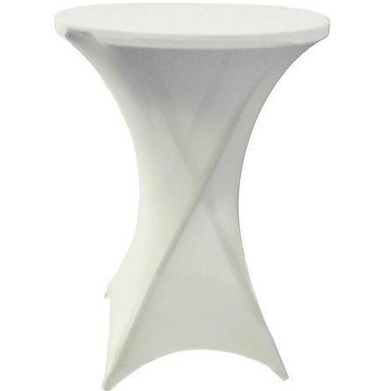 white spandex highboy cocktail table rentals