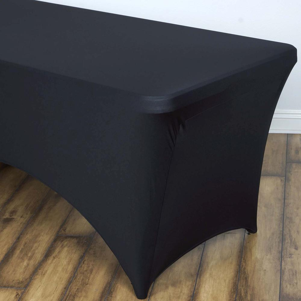 black spandex rectangular table cover rentals