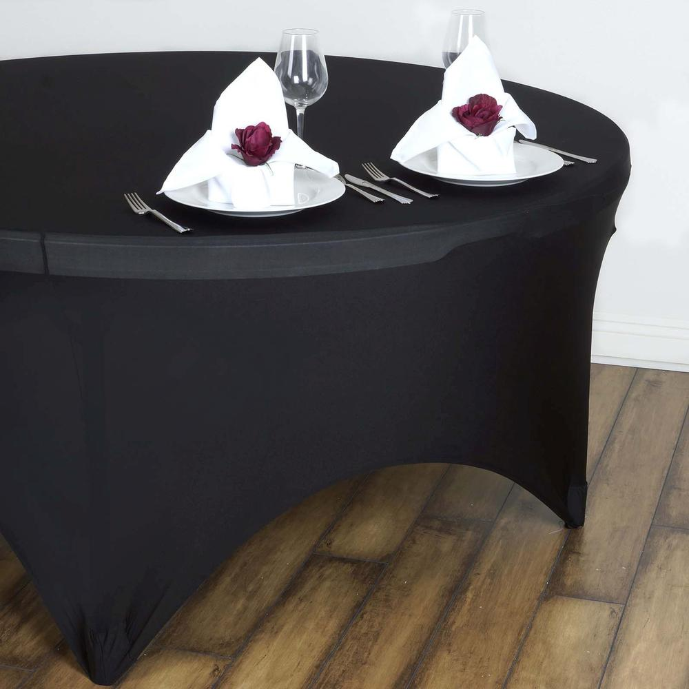 black spandex table cloth round table rentals