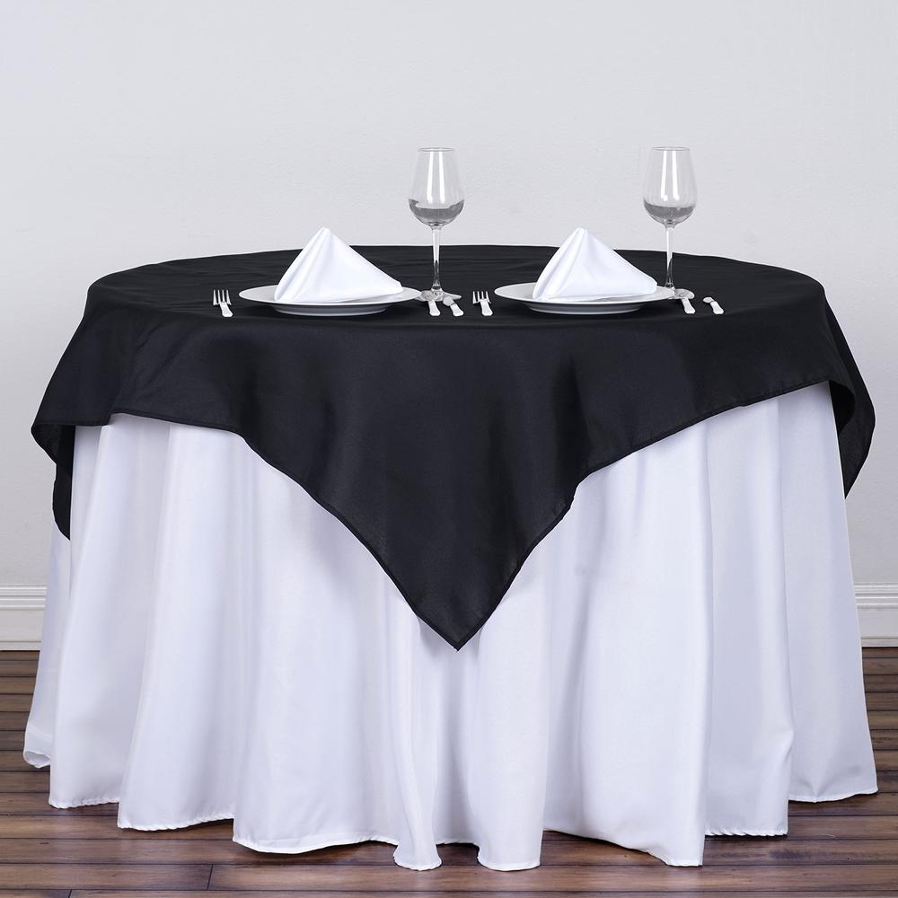 black satin table overlay rentals