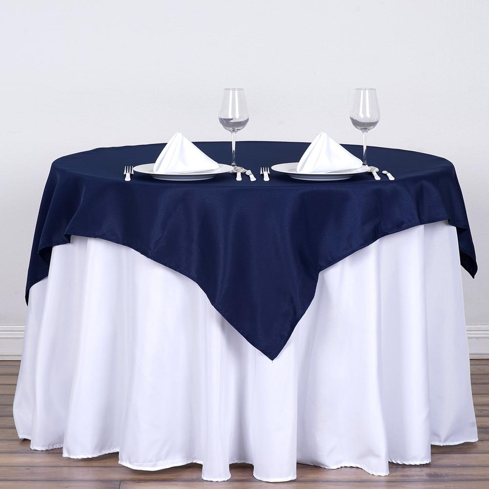 navy blue table overlay satin rentals