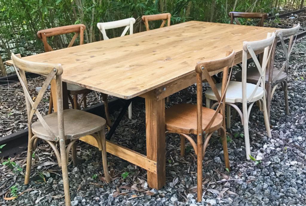 farm table rustic rentals in miami