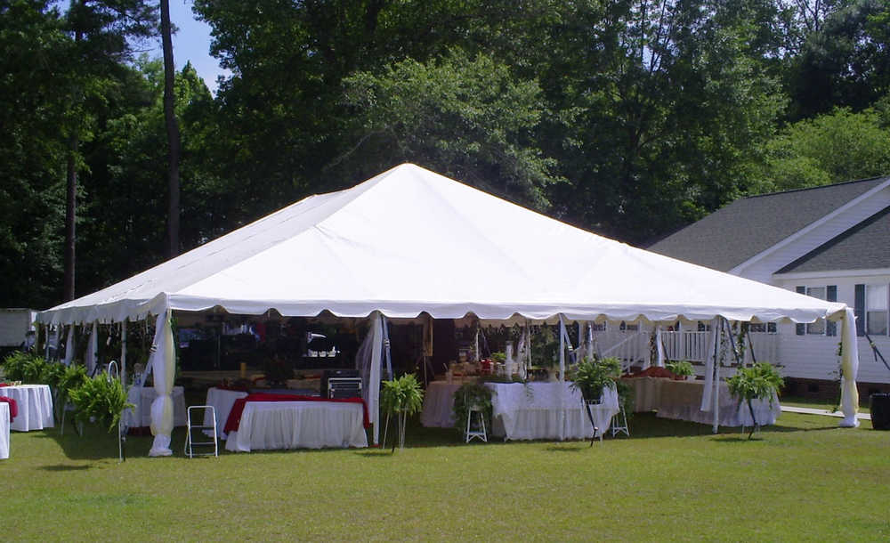 white frame top tent rentals